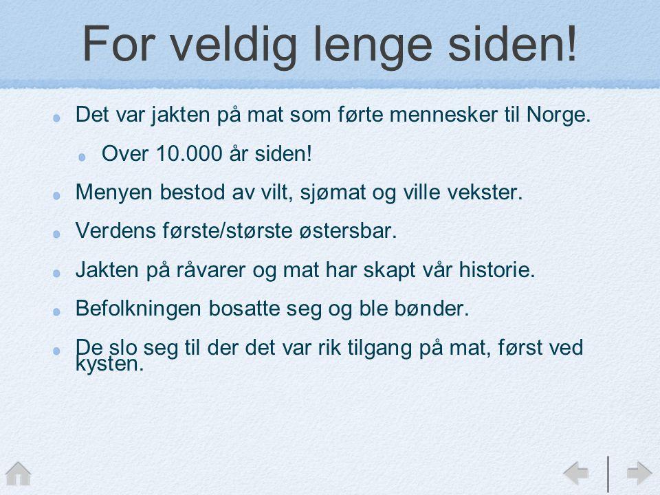 For veldig lenge siden.Det var jakten på mat som førte mennesker til Norge.