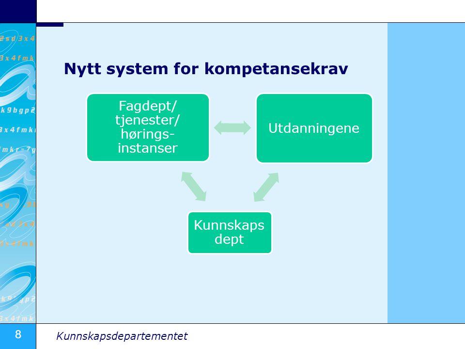 8 Kunnskapsdepartementet Kunnskaps dept Utdanningene Fagdept/ tjenester/ hørings- instanser Nytt system for kompetansekrav