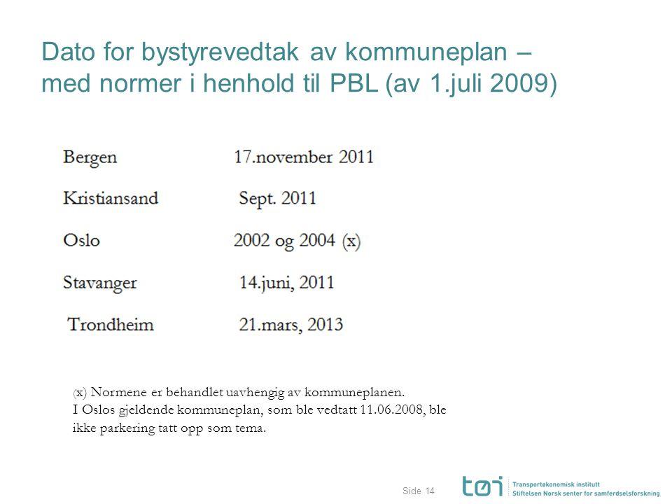Side Dato for bystyrevedtak av kommuneplan – med normer i henhold til PBL (av 1.juli 2009) 14 ( x) Normene er behandlet uavhengig av kommuneplanen. I