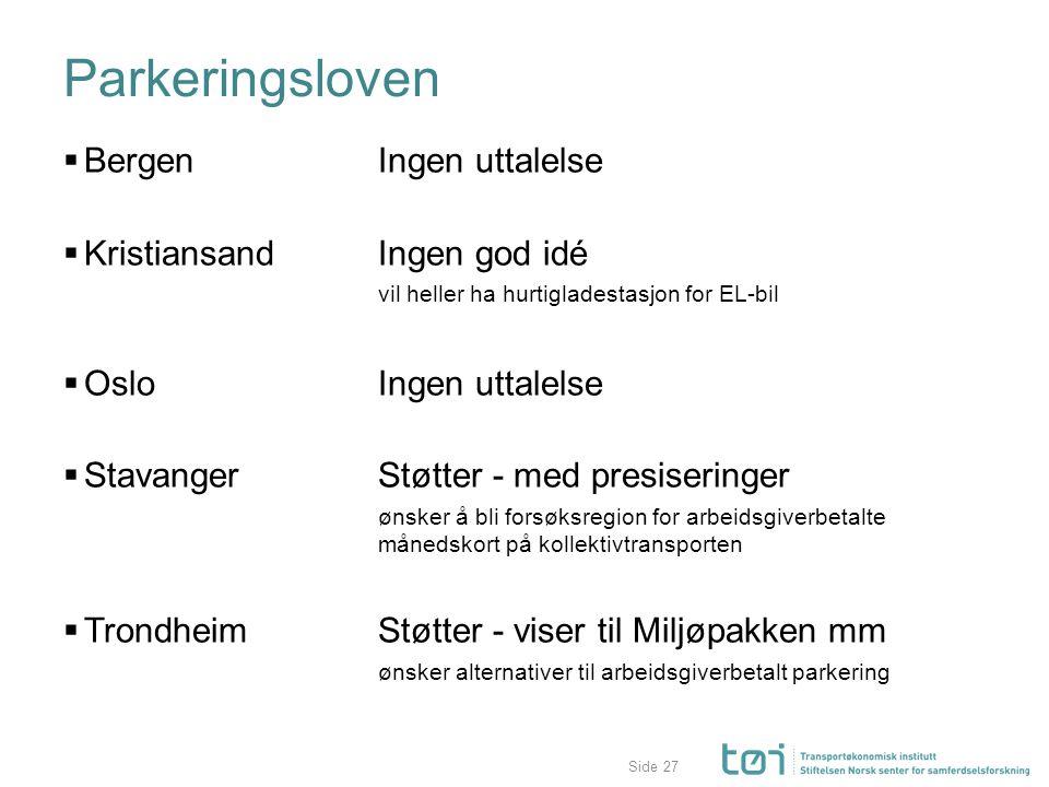 Side Parkeringsloven  BergenIngen uttalelse  Kristiansand Ingen god idé vil heller ha hurtigladestasjon for EL-bil  OsloIngen uttalelse  Stavanger