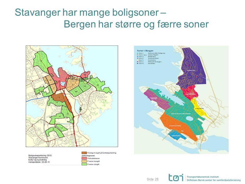 Side Stavanger har mange boligsoner – Bergen har større og færre soner 28