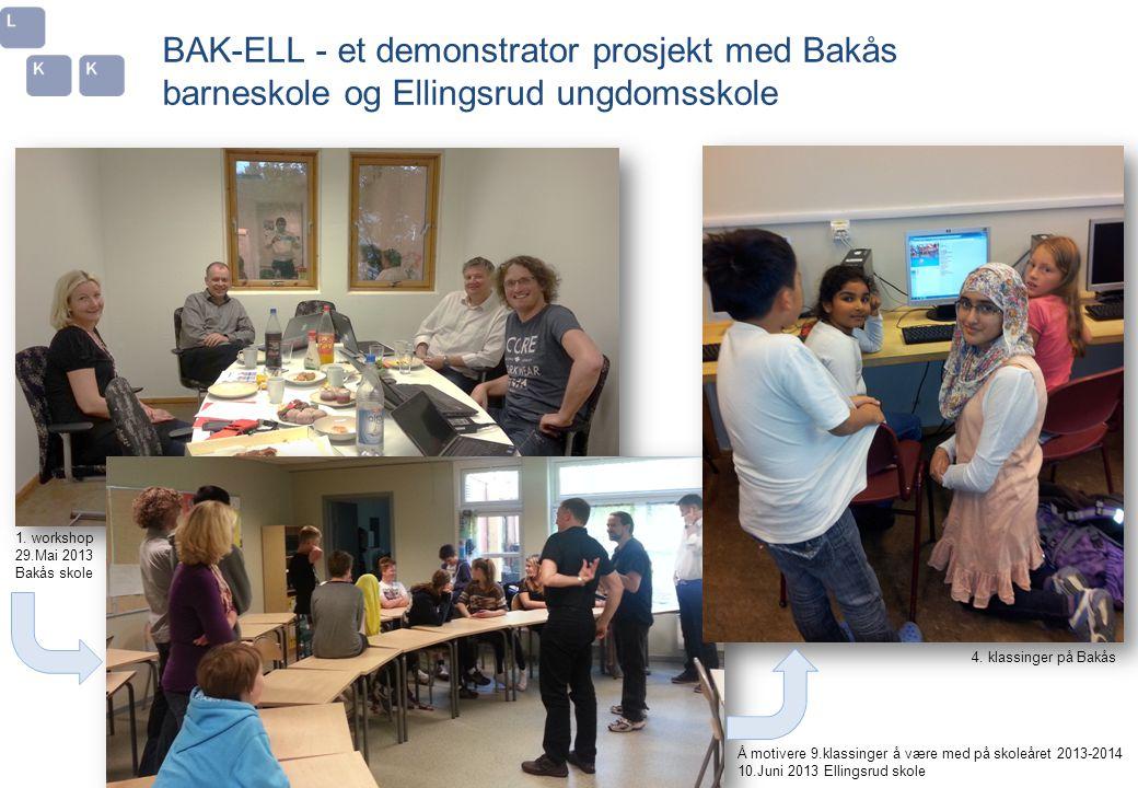 BAK-ELL - et demonstrator prosjekt med Bakås barneskole og Ellingsrud ungdomsskole 4. klassinger på Bakås Å motivere 9.klassinger å være med på skoleå