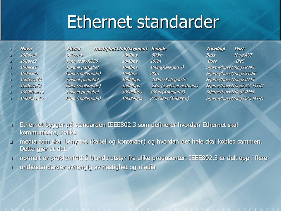 Ethernet standarder  Navn Media Hastighet Link/segment lengde Topologi Port  10Base5 Gul coax 10Mbps 500m Buss N og AUI  10Base2 Tynn coax/RG58 10M