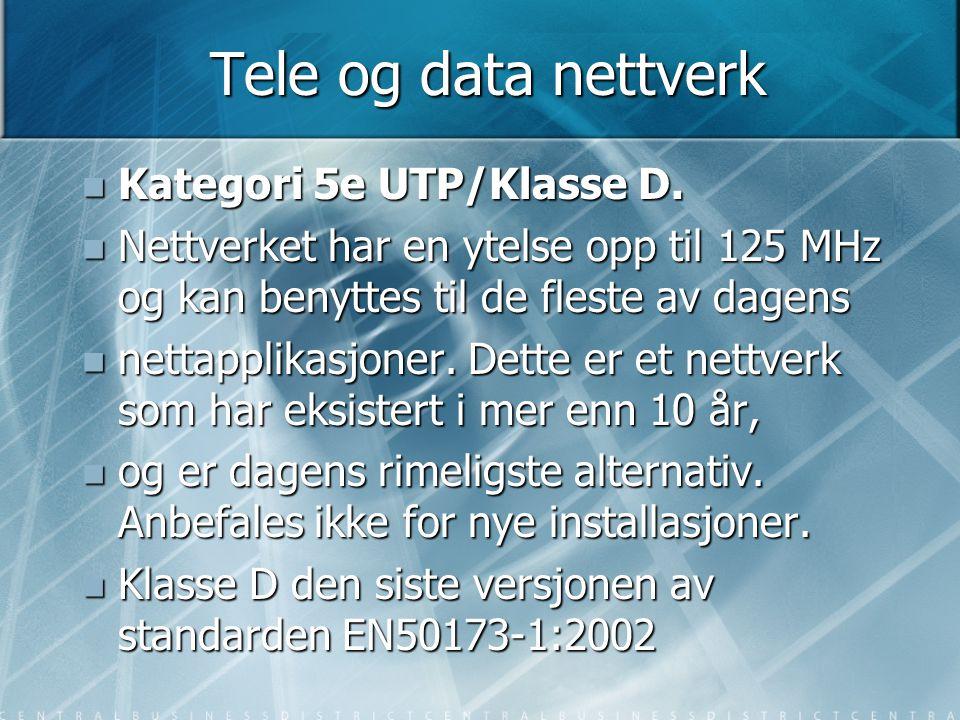 Tele og data nettverk  Kategori 5e UTP/Klasse D.  Nettverket har en ytelse opp til 125 MHz og kan benyttes til de fleste av dagens  nettapplikasjon