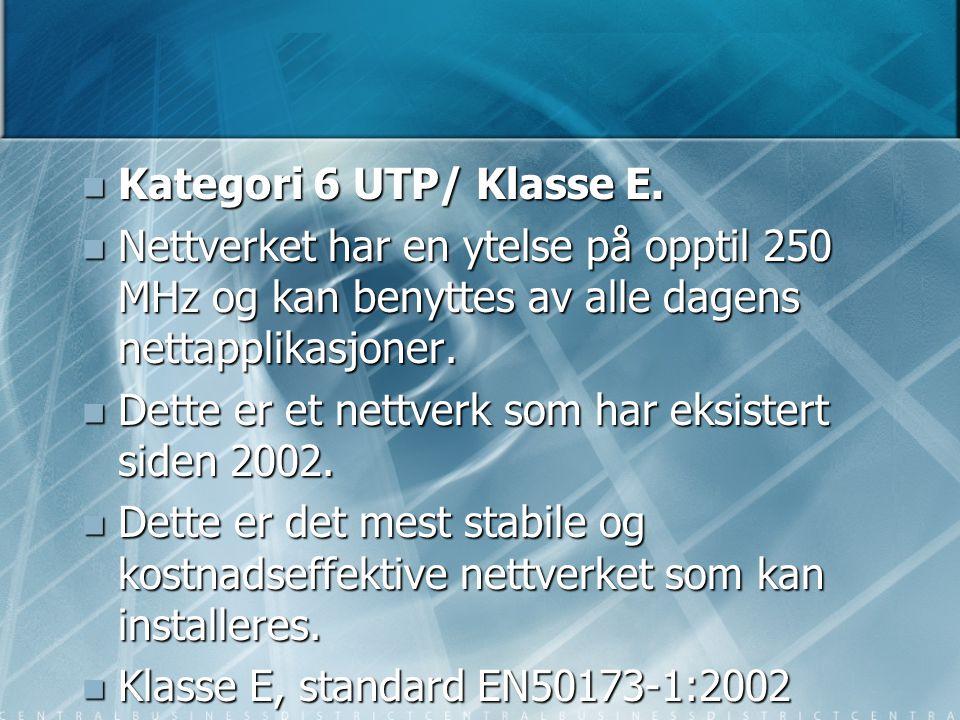  Kategori 6 UTP/ Klasse E.  Nettverket har en ytelse på opptil 250 MHz og kan benyttes av alle dagens nettapplikasjoner.  Dette er et nettverk som