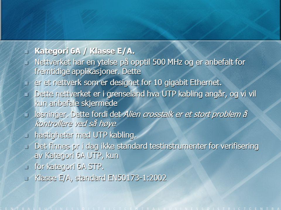  Kategori 6A / Klasse E/A.  Nettverket har en ytelse på opptil 500 MHz og er anbefalt for fremtidige applikasjoner. Dette  er et nettverk som er de