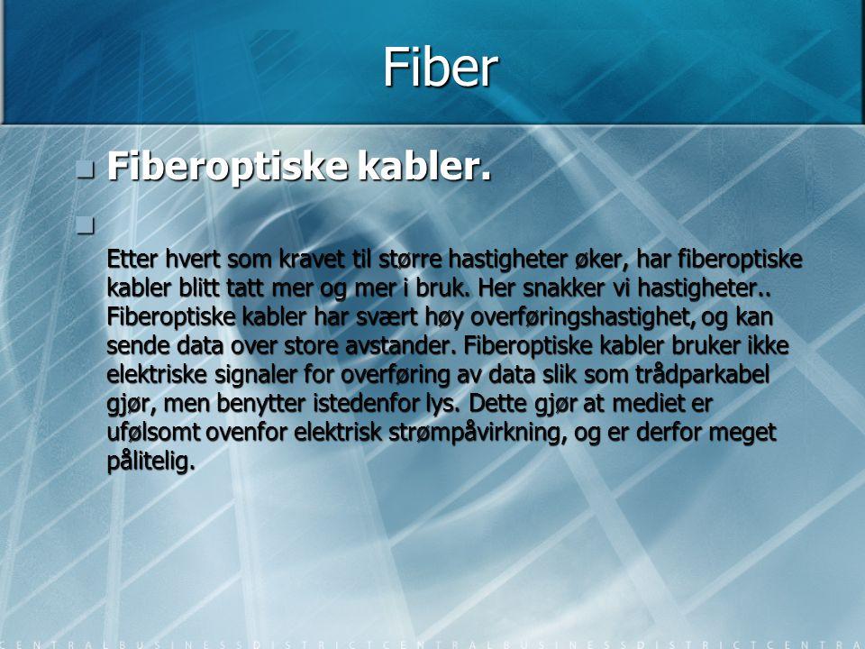 Fiber  Fiberoptiske kabler.  Etter hvert som kravet til større hastigheter øker, har fiberoptiske kabler blitt tatt mer og mer i bruk. Her snakker v