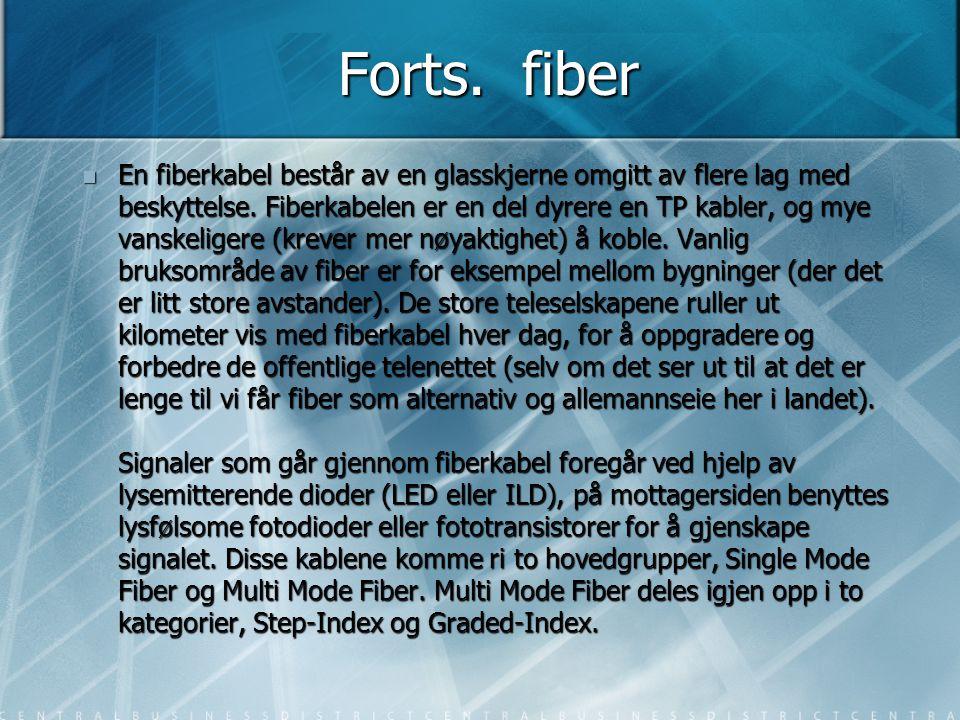 Forts. fiber  En fiberkabel består av en glasskjerne omgitt av flere lag med beskyttelse. Fiberkabelen er en del dyrere en TP kabler, og mye vanskeli