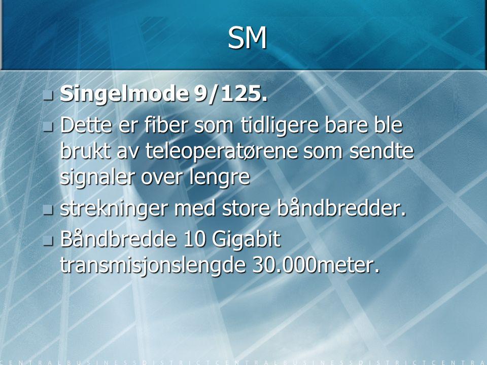 SM  Singelmode 9/125.  Dette er fiber som tidligere bare ble brukt av teleoperatørene som sendte signaler over lengre  strekninger med store båndbr