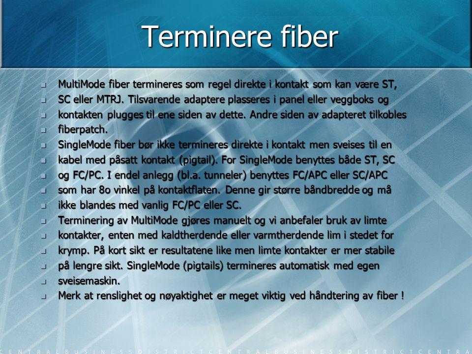 Terminere fiber  MultiMode fiber termineres som regel direkte i kontakt som kan være ST,  SC eller MTRJ. Tilsvarende adaptere plasseres i panel elle