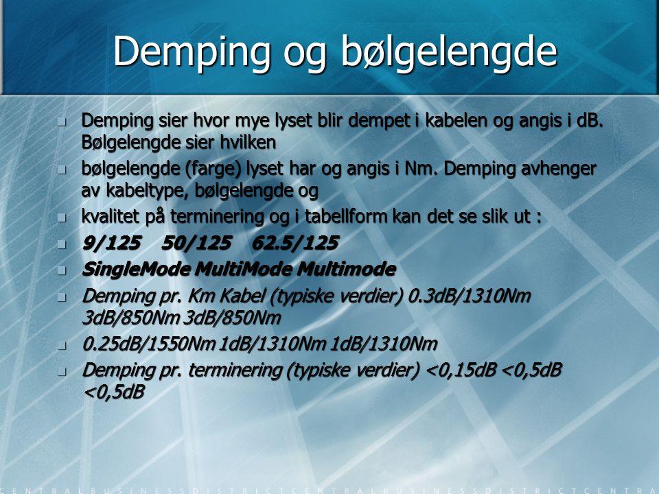 Demping og bølgelengde  Demping sier hvor mye lyset blir dempet i kabelen og angis i dB. Bølgelengde sier hvilken  bølgelengde (farge) lyset har og
