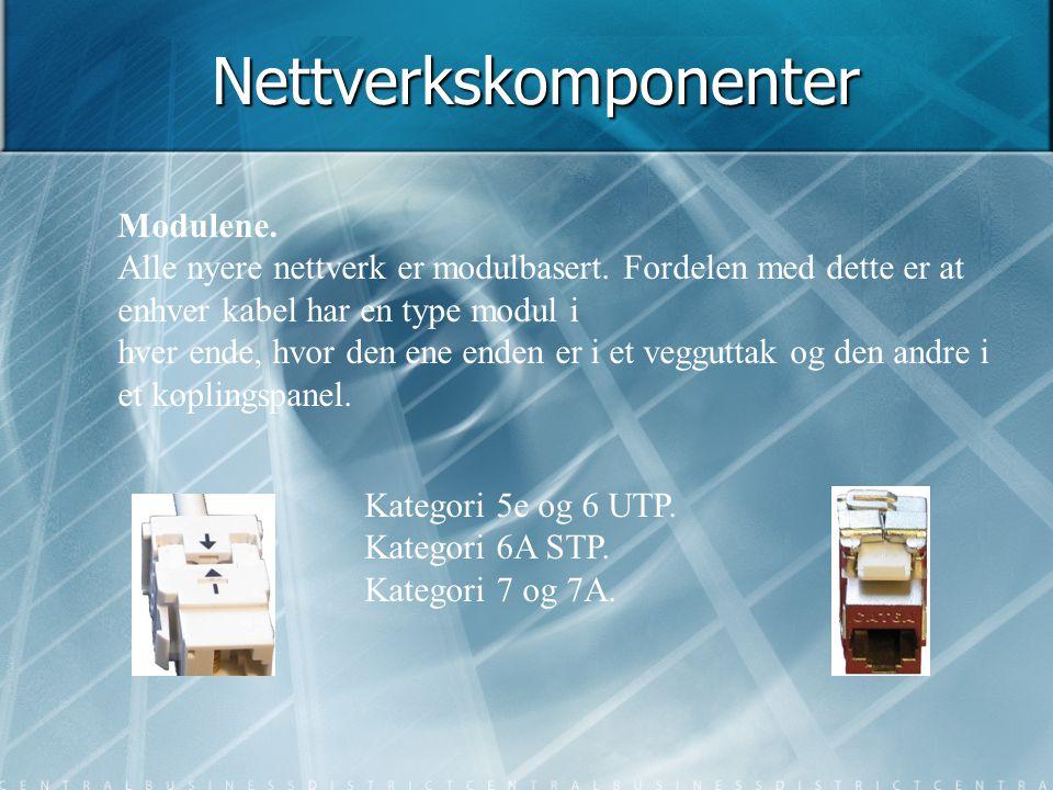 Nettverkskomponenter Modulene. Alle nyere nettverk er modulbasert. Fordelen med dette er at enhver kabel har en type modul i hver ende, hvor den ene e
