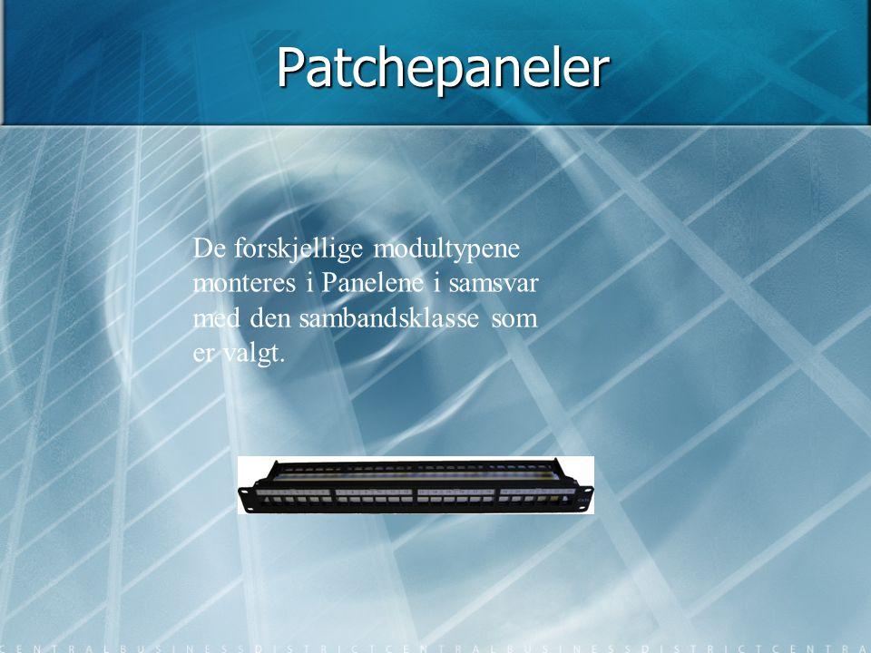 Patchepaneler De forskjellige modultypene monteres i Panelene i samsvar med den sambandsklasse som er valgt.