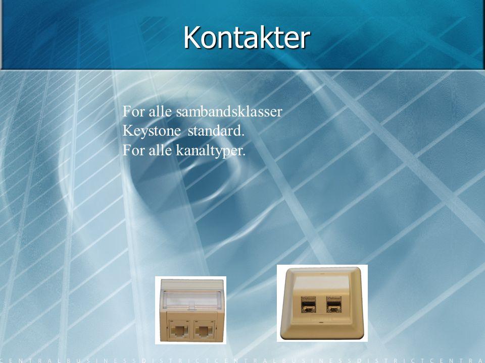 Kontakter For alle sambandsklasser Keystone standard. For alle kanaltyper.