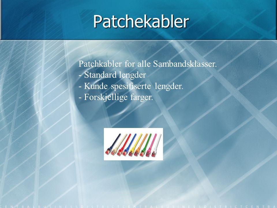 Patchekabler Patchkabler for alle Sambandsklasser. - Standard lengder - Kunde spesifiserte lengder. - Forskjellige farger.