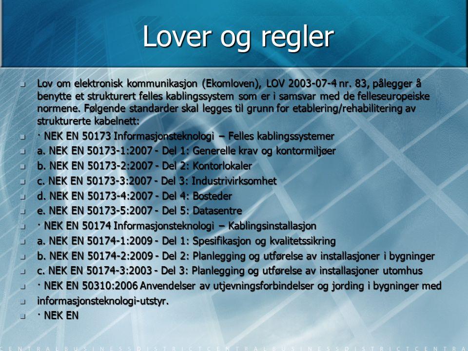 Lover og regler  Lov om elektronisk kommunikasjon (Ekomloven), LOV 2003-07-4 nr. 83, pålegger å benytte et strukturert felles kablingssystem som er i