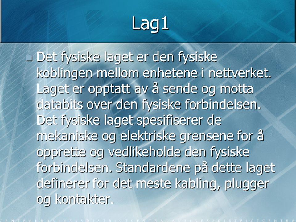 Lag1  Det fysiske laget er den fysiske koblingen mellom enhetene i nettverket. Laget er opptatt av å sende og motta databits over den fysiske forbind