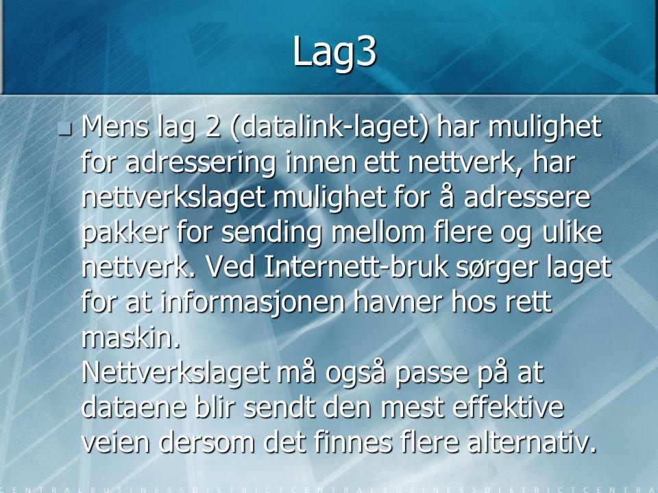 Lag3  Mens lag 2 (datalink-laget) har mulighet for adressering innen ett nettverk, har nettverkslaget mulighet for å adressere pakker for sending mel