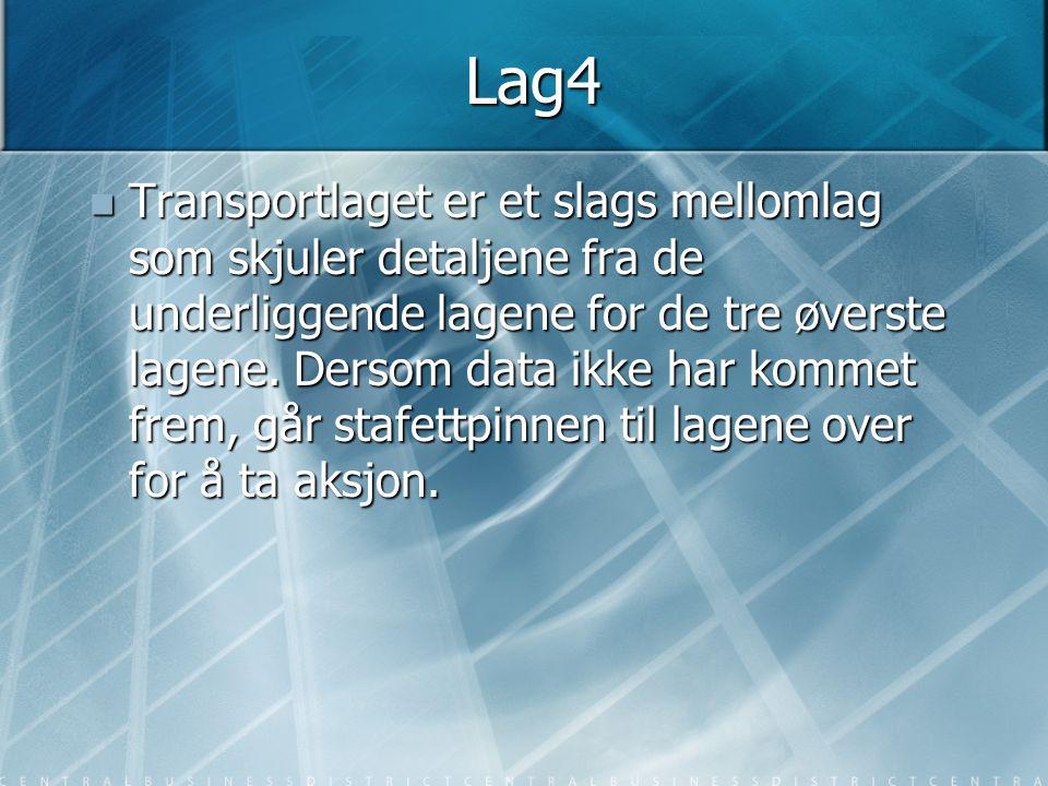 Lag4  Transportlaget er et slags mellomlag som skjuler detaljene fra de underliggende lagene for de tre øverste lagene. Dersom data ikke har kommet f