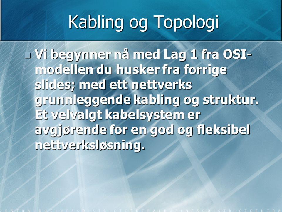 Kabling og Topologi  Vi begynner nå med Lag 1 fra OSI- modellen du husker fra forrige slides; med ett nettverks grunnleggende kabling og struktur. Et