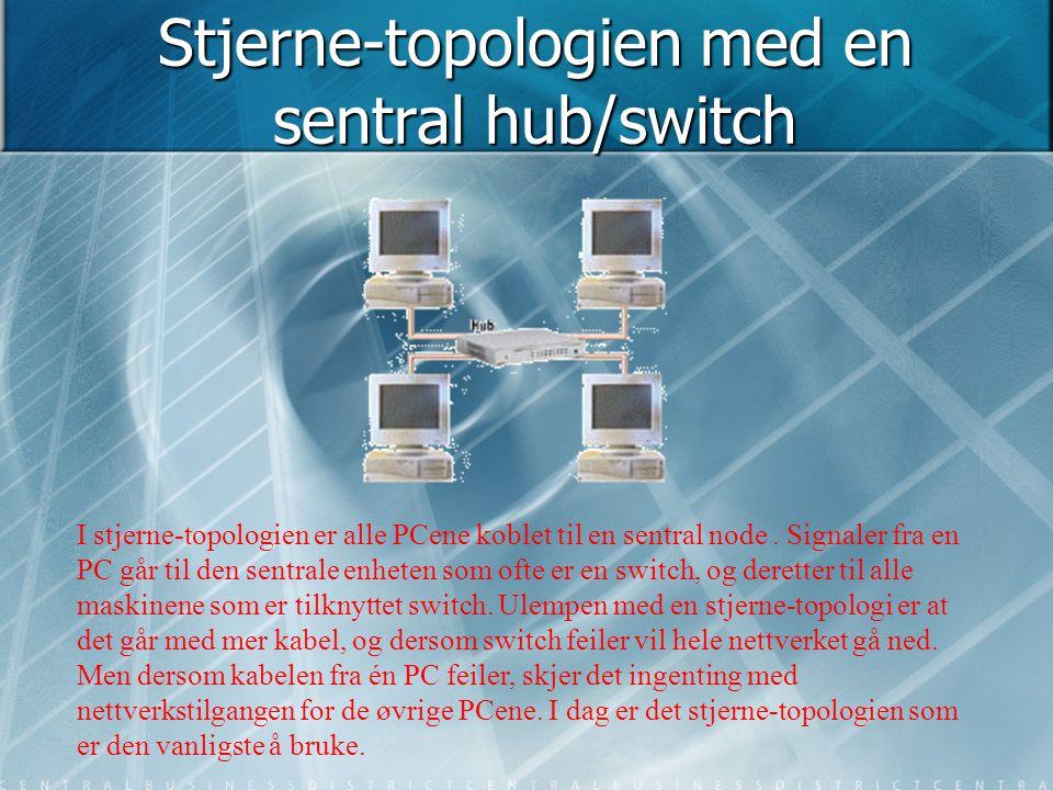 Stjerne-topologien med en sentral hub/switch I stjerne-topologien er alle PCene koblet til en sentral node. Signaler fra en PC går til den sentrale en
