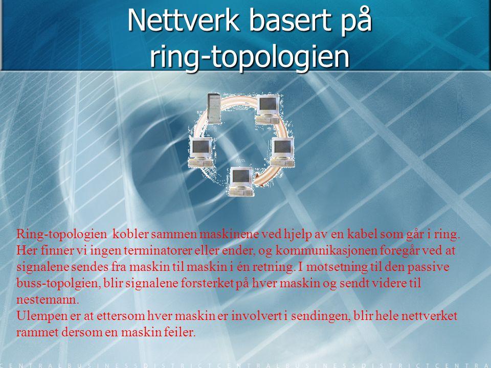 Nettverk basert på ring-topologien Ring-topologien kobler sammen maskinene ved hjelp av en kabel som går i ring. Her finner vi ingen terminatorer elle