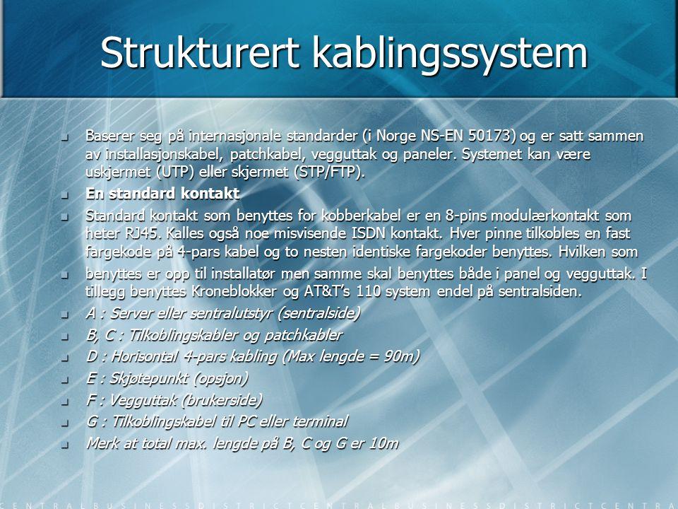 Ethernet standarder  Navn Media Hastighet Link/segment lengde Topologi Port  10Base5 Gul coax 10Mbps 500m Buss N og AUI  10Base2 Tynn coax/RG58 10Mbps 185m Buss BNC  10BaseT Tvinnet parkabel 10Mbps 100m(Kategori 3) Stjerne/buss1/ring2 RJ45  10BaseFL Fiber (multimode) 10Mbps 2Km Stjerne/buss1/ring2 ST;SC  100BaseTx Tvinnet parkabel 100Mbps 100m (Kategori 5) Stjerne/buss1/ring2 RJ45  100BaseFx Fiber (multimode) 100Mbps 2Km (Switchet nettverk) Stjerne/buss1/ring2 SC, MTRJ  1000BaseTx Tvinnet parkabel 1000Mbps 100m (Kategori 5) Stjerne/buss1/ring2 RJ45  1000BaseSx Fiber (multimode) 1000Mbps 275-500m(1300Nm) Stjerne/buss1/ring2 SC, MTRJ  Ethernet bygger på standarden IEEE802.3 som definerer hvordan Ethernet skal kommunisere, hvilke  media som skal benyttes (kabel og kontakter) og hvordan det hele skal kobles sammen.