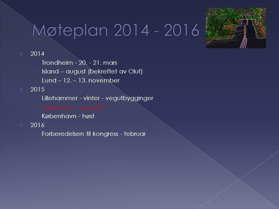  2014 › Trondheim - 20. - 21. mars › Island – august (bekreftet av Oluf) › Lund – 12. – 13. november  2015 › Lillehammer - vinter - vegutbygginger ›