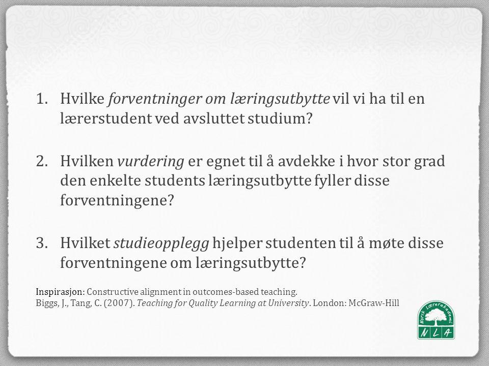 1.Hvilke forventninger om læringsutbytte vil vi ha til en lærerstudent ved avsluttet studium.