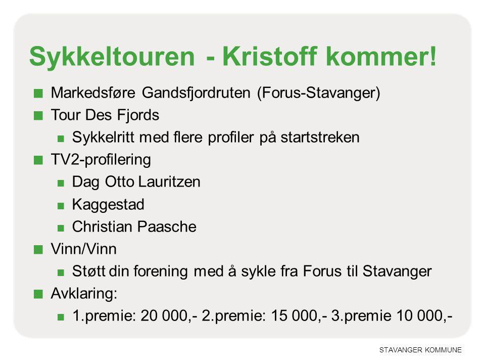 STAVANGER KOMMUNE Sykkeltouren - Kristoff kommer! ■ Markedsføre Gandsfjordruten (Forus-Stavanger) ■ Tour Des Fjords ■ Sykkelritt med flere profiler på