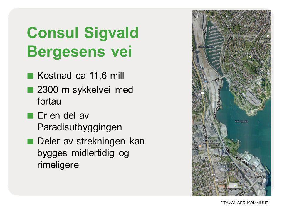 STAVANGER KOMMUNE Consul Sigvald Bergesens vei ■ Kostnad ca 11,6 mill ■ 2300 m sykkelvei med fortau ■ Er en del av Paradisutbyggingen ■ Deler av strek