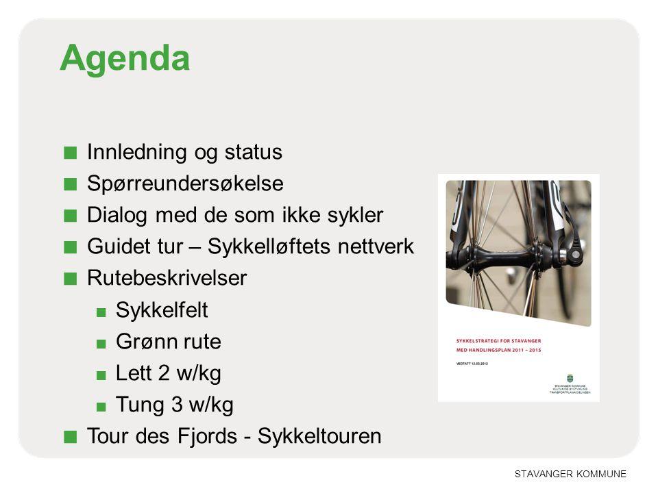 STAVANGER KOMMUNE Agenda ■ Innledning og status ■ Spørreundersøkelse ■ Dialog med de som ikke sykler ■ Guidet tur – Sykkelløftets nettverk ■ Rutebeskr