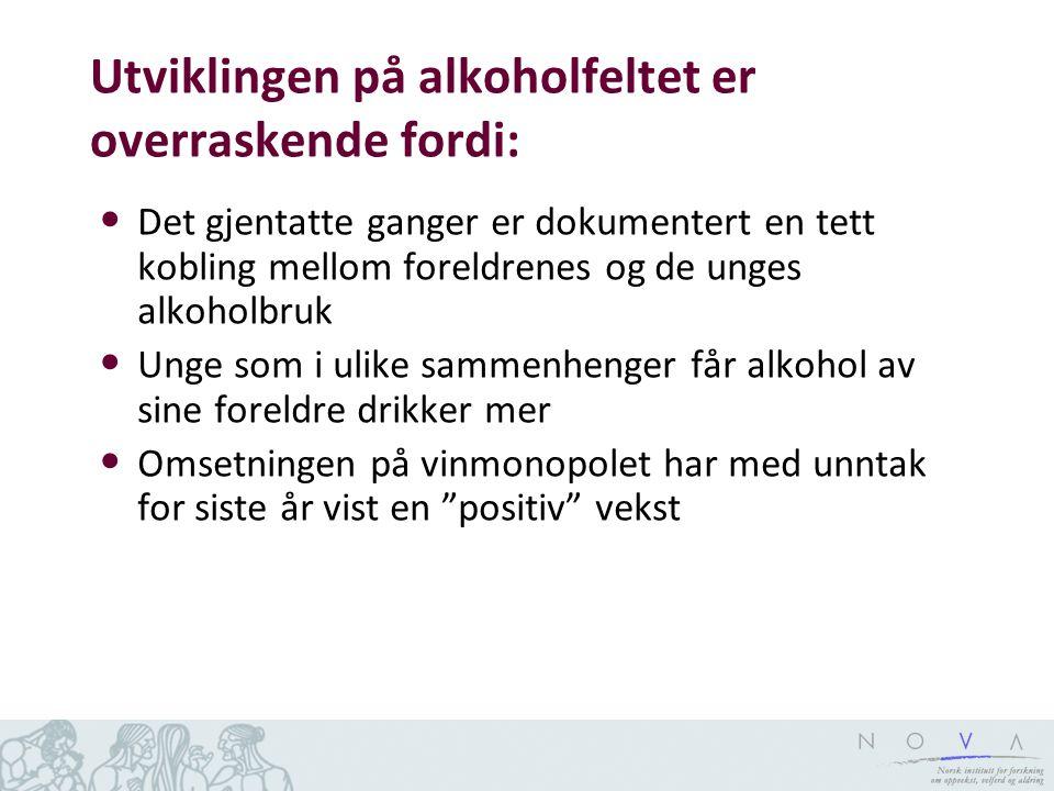 Utviklingen på alkoholfeltet er overraskende fordi: • Det gjentatte ganger er dokumentert en tett kobling mellom foreldrenes og de unges alkoholbruk •