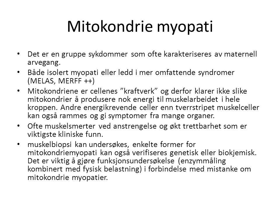 Mitokondrie myopati • Det er en gruppe sykdommer som ofte karakteriseres av maternell arvegang. • Både isolert myopati eller ledd i mer omfattende syn