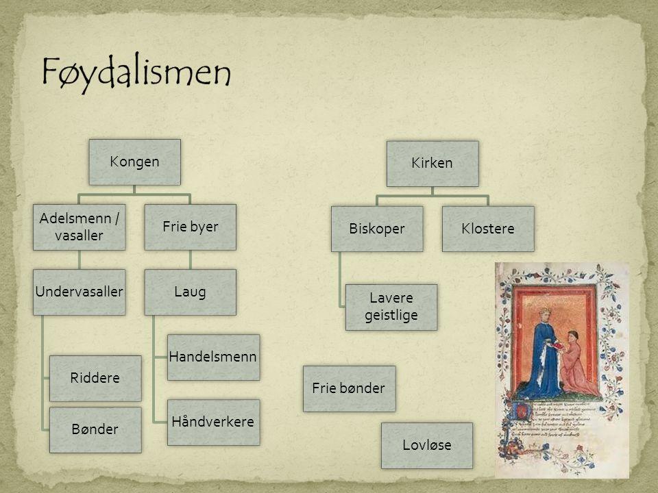  Kirken hadde stor makt i middelalderen  Hadde Europeisk nettverk; kunne legge press på Kongen  Eide store jordeiendommer  Gjennom kirkene lokalt – som formidler og midtpunkt • Kirkeretten gav kirken domsmyndighet • Kunne kreve kirkeskatt