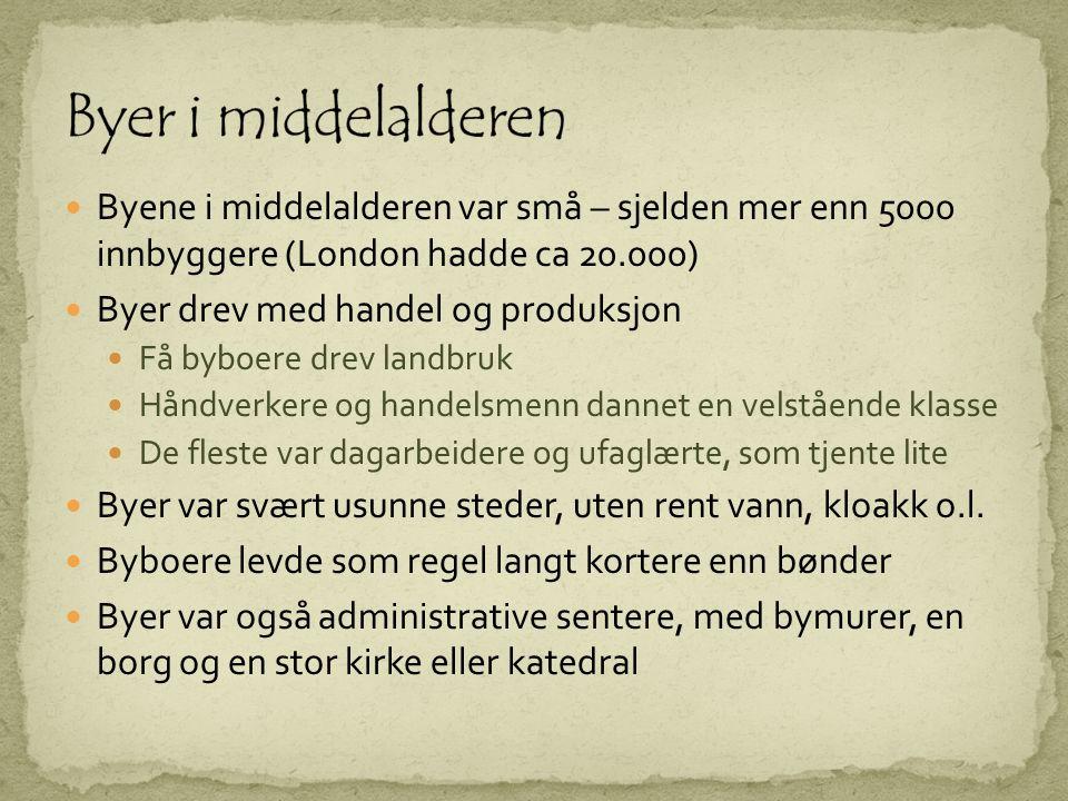 Rike handelsmenn Håndverkere Dagarbeidere Omreisende arbeidere Selgere, kroverter o.l.