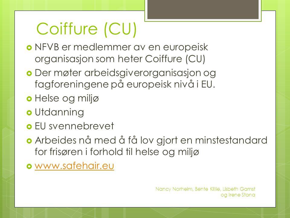 Coiffure (CU)  NFVB er medlemmer av en europeisk organisasjon som heter Coiffure (CU)  Der møter arbeidsgiverorganisasjon og fagforeningene på europ