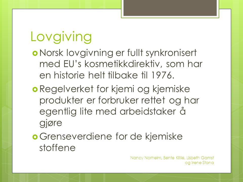 Lovgiving  Norsk lovgivning er fullt synkronisert med EU's kosmetikkdirektiv, som har en historie helt tilbake til 1976.  Regelverket for kjemi og k