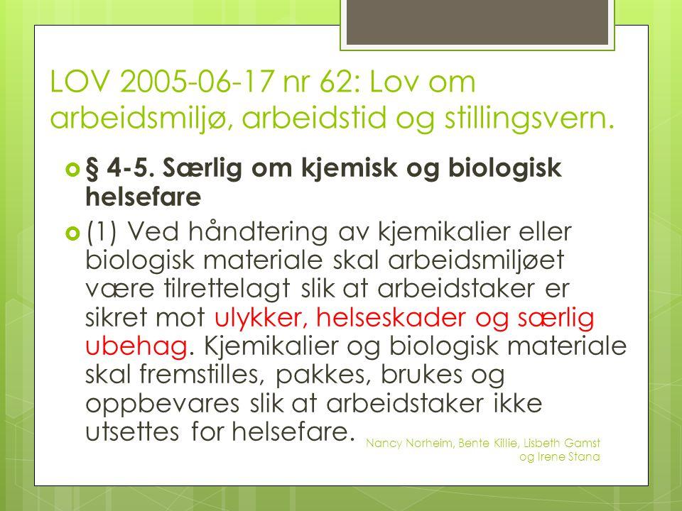 LOV 2005-06-17 nr 62: Lov om arbeidsmiljø, arbeidstid og stillingsvern.  § 4-5. Særlig om kjemisk og biologisk helsefare  (1) Ved håndtering av kjem