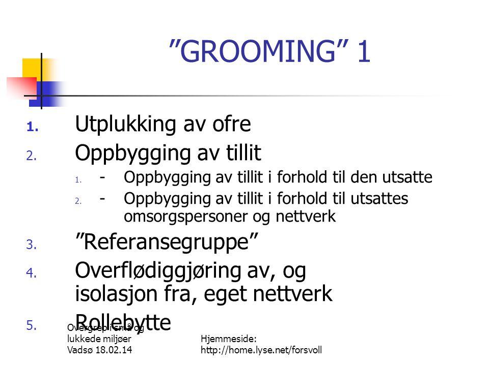 Overgrep i små og lukkede miljøer Vadsø 18.02.14 Hjemmeside: http://home.lyse.net/forsvoll GROOMING 2 6.
