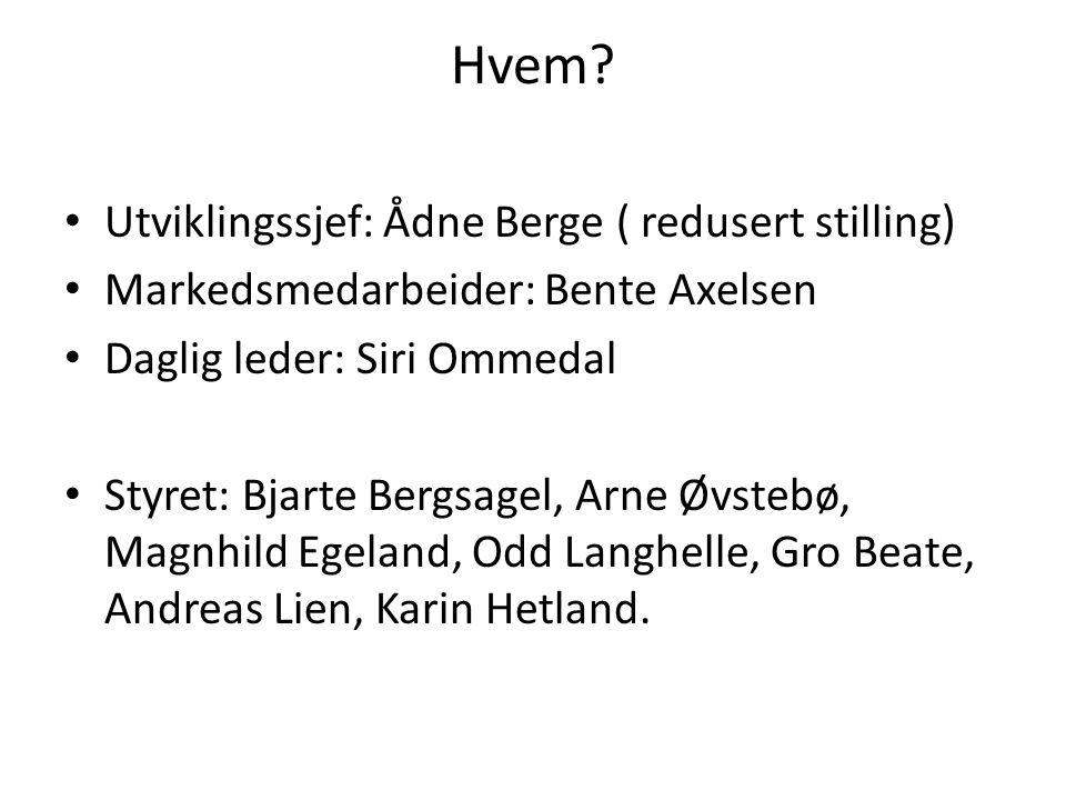 Hvem? • Utviklingssjef: Ådne Berge ( redusert stilling) • Markedsmedarbeider: Bente Axelsen • Daglig leder: Siri Ommedal • Styret: Bjarte Bergsagel, A