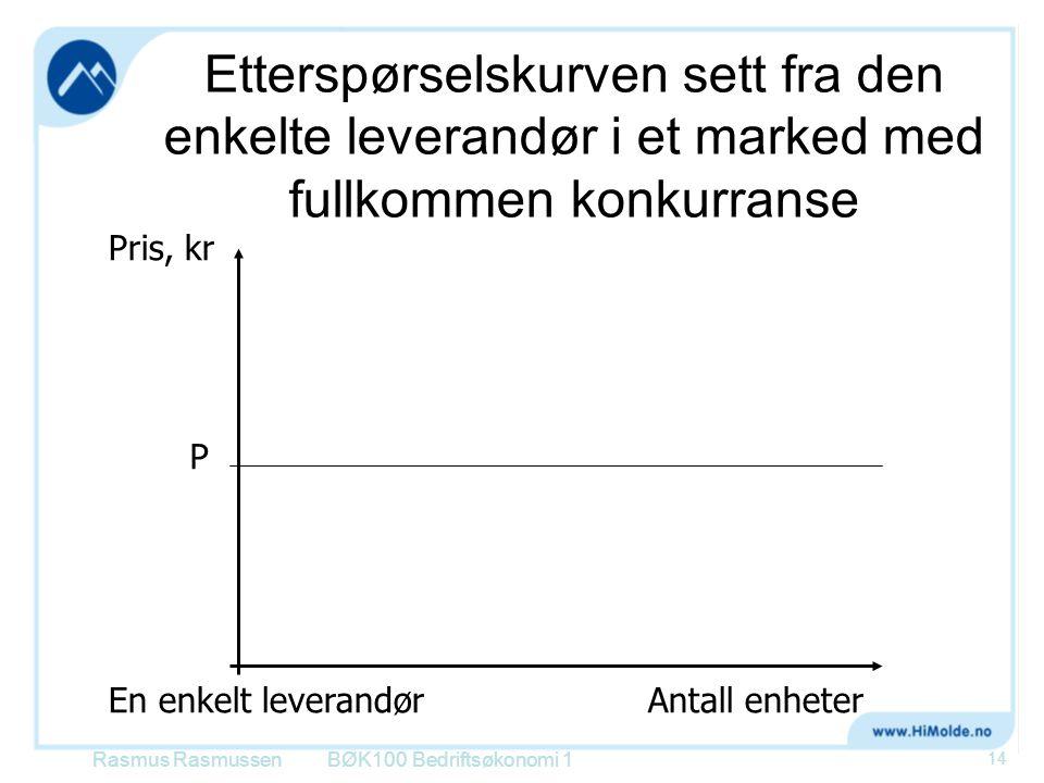 Etterspørselskurven sett fra den enkelte leverandør i et marked med fullkommen konkurranse BØK100 Bedriftsøkonomi 1 Pris, kr En enkelt leverandørAntal