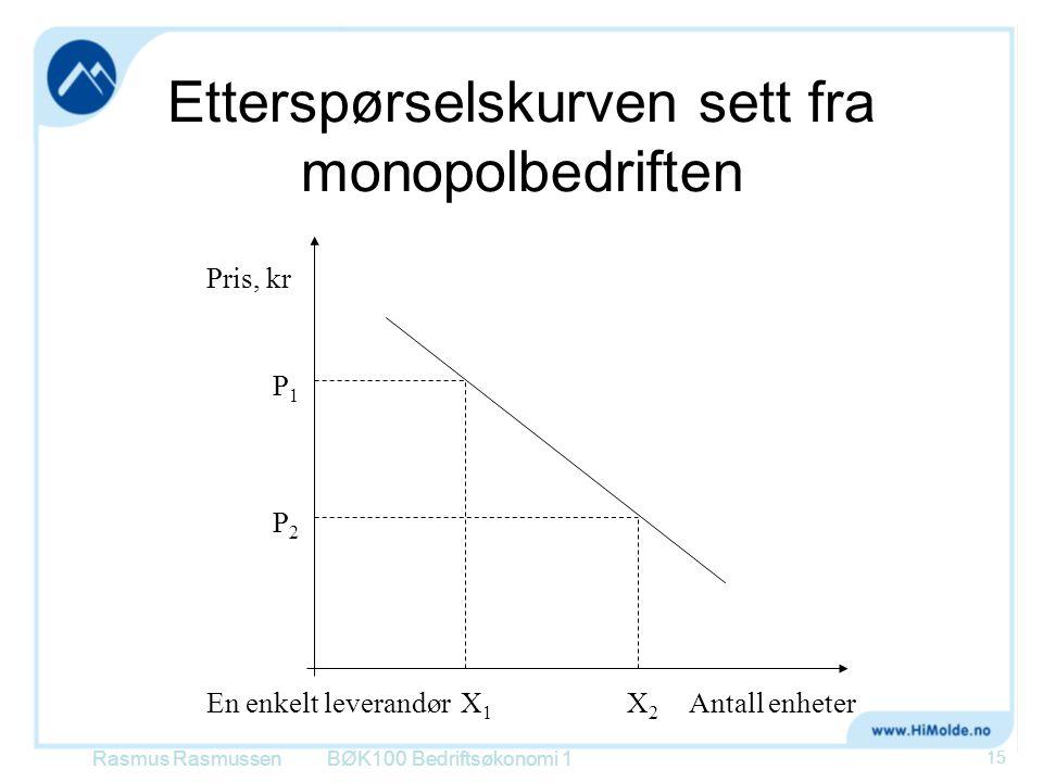 Etterspørselskurven sett fra monopolbedriften BØK100 Bedriftsøkonomi 1 Pris, kr En enkelt leverandørAntall enheter P1P1 P2P2 X1X1 X2X2 Rasmus Rasmusse