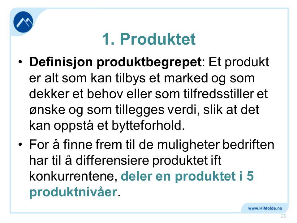 1. Produktet •Definisjon produktbegrepet: Et produkt er alt som kan tilbys et marked og som dekker et behov eller som tilfredsstiller et ønske og som