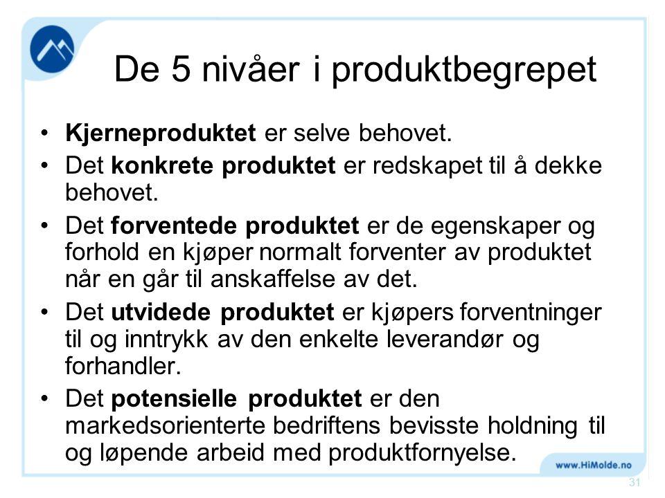 De 5 nivåer i produktbegrepet •Kjerneproduktet er selve behovet. •Det konkrete produktet er redskapet til å dekke behovet. •Det forventede produktet e