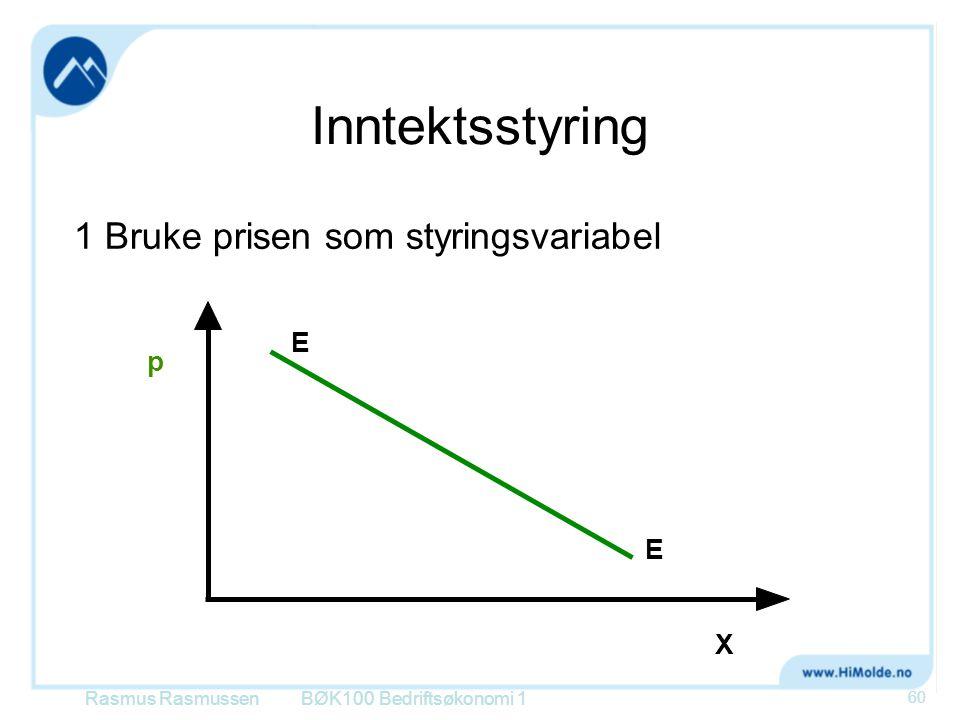 Inntektsstyring 1 Bruke prisen som styringsvariabel BØK100 Bedriftsøkonomi 1 p E E X Rasmus Rasmussen 60