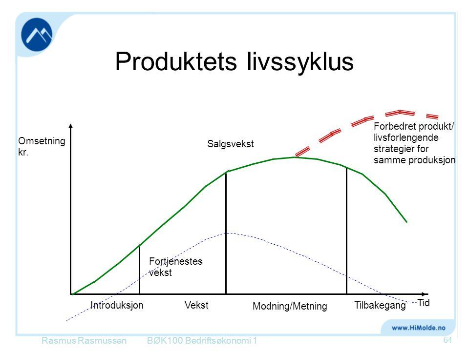 Produktets livssyklus BØK100 Bedriftsøkonomi 1 Omsetning kr. IntroduksjonVekst Modning/Metning Tilbakegang Tid Forbedret produkt/ livsforlengende stra