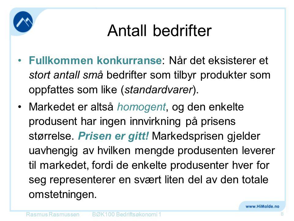 Inntektsstyring  Tre muligheter til å styre bedriftens inntekter: BØK100 Bedriftsøkonomi 1Rasmus Rasmussen 59