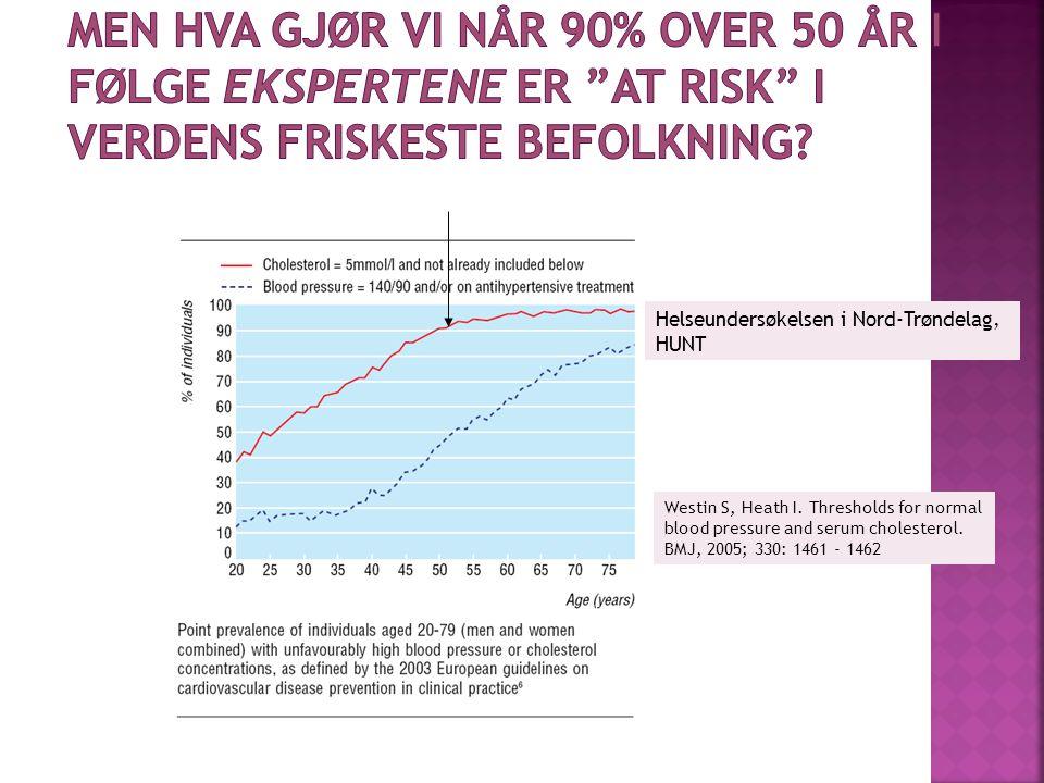 Westin S, Heath I. Thresholds for normal blood pressure and serum cholesterol. BMJ, 2005; 330: 1461 - 1462 Helseundersøkelsen i Nord-Trøndelag, HUNT