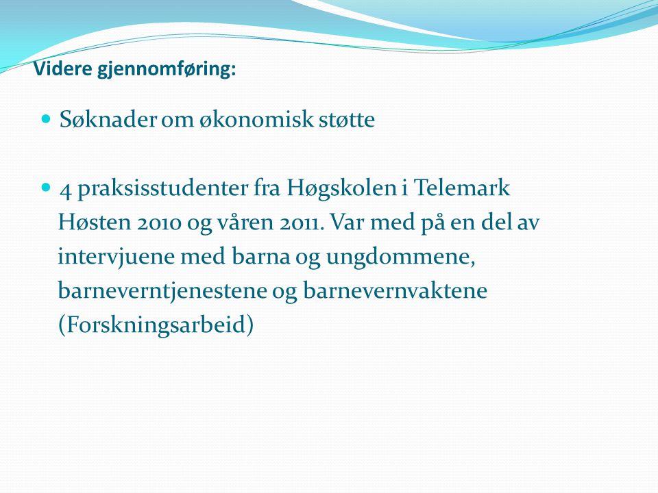Videre gjennomføring:  Søknader om økonomisk støtte  4 praksisstudenter fra Høgskolen i Telemark Høsten 2010 og våren 2011. Var med på en del av int